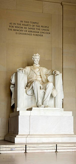 Abraham Lincoln's Statue in a memorial, Lincoln Memorial, Washington DC, USA