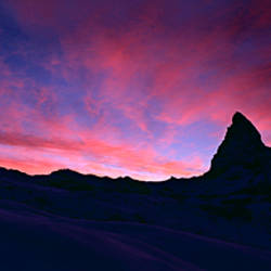 Silhouette of a mountain peak at sunset, Matterhorn, Zermatt, Switzerland