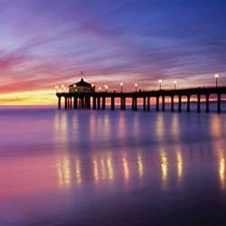 Reflection of a pier in water, Manhattan Beach Pier, Manhattan Beach, San Francisco, California, USA