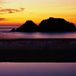 Silhouette of islands in the ocean, Sutro Baths, San Francisco, California, USA