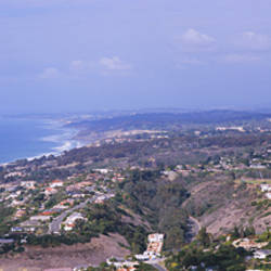 High angle view of buildings on a hill, La Jolla, Pacific Ocean, San Diego, California, USA