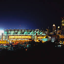 Stadium lit up at night in a city, Heinz Field, Three Rivers Stadium, Pittsburgh, Pennsylvania, USA