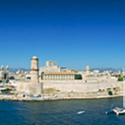 High angle view of entrance of a fort, Fort St. Jean, entrance of Marseille harbor, Marseille, Provence, France