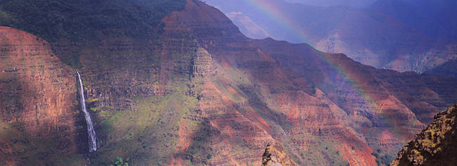 Rainbow over a canyon, Waimea Canyon, Waipo'o Falls, Kauai, Hawaii, USA
