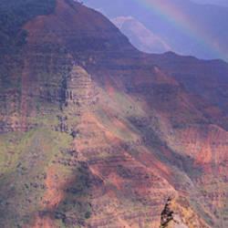 Rainbow over a canyon, Waimea Canyon, Waipo'o Falls, Kauai, Hawaii, USA