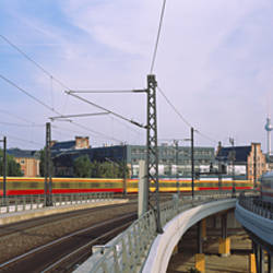 Trains on railroad tracks, Central Station, Berlin, Germany