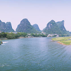 Tourboat in a river, Lijiang River, Guilin, China