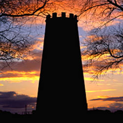 Silhouette of a black tower, Black Mill, Beverley Westwood, England