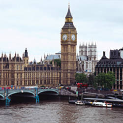 Arch bridge across a river, Westminster Bridge, Big Ben, Houses Of Parliament, Westminster, London, England