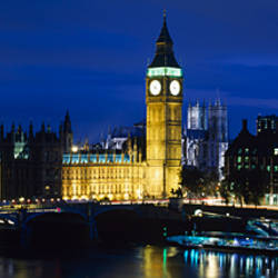 Buildings lit up at dusk, Westminster Bridge, Big Ben, Houses Of Parliament, Westminster, London, England