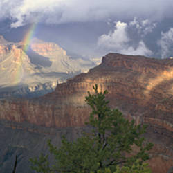 Rainbow And Cloud Over The Mountain, Grand Canyon National Park, Arizona, USA