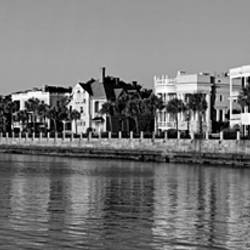 USA, South Carolina, Charleston, View of buildings along the waterfront (Black And White)
