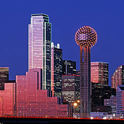 USA, Texas, Dallas, Panoramic view of an urban skyline at night