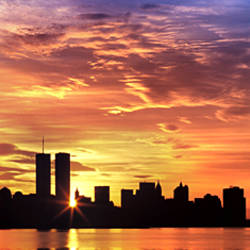US, New York City, skyline, sunrise