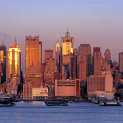 USA, New York, New York City, West Side, Skyscrapers in a city during dusk