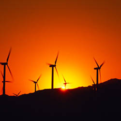Wind turbines at dusk, Palm Springs, California, USA
