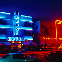 Low Angle View Of A Hotel Lit Up At Night, Miami, Florida, USA