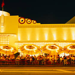 Restaurant lit up at night, Miami, Florida, USA