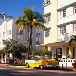 Car parked in front of a hotel, Miami, Florida, USA