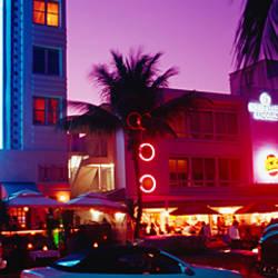 Hotel lit up at night, Miami, Florida, USA