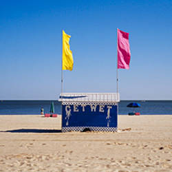 Two flags on a beach hut, Biloxi, Mississippi, USA