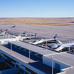 High angle view of airplanes parked in airport, Denver International Airport, Denver, Colorado, USA