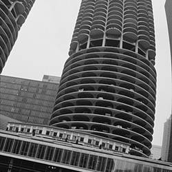 Low angle view of towers, Marina Towers, Chicago, Illinois, USA