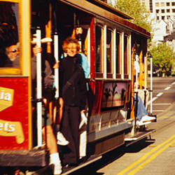 Cable car moving on a road, San Francisco, California, USA
