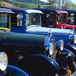 Vintage cars parked in a row, California, USA