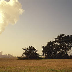 Smoke rising from the chimney of a factory, California, USA