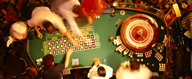 High angle view of a group of people at a roulette table, Biloxi, Mississippi, USA