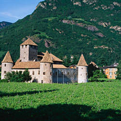 Field in front of a castle, Castle Firmiano, Bolzano, Italy