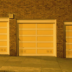 USA, California, San Francisco, Row of garages at night