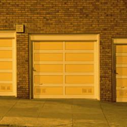 USA, California, San Francisco, Row of garages at night