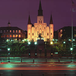 Buildings lit up at night, Jackson Square, St. Louis Cathedral, French Quarter, New Orleans, Louisiana, USA