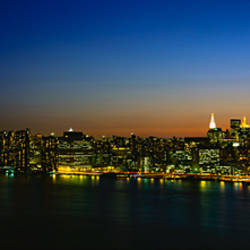 City skyline at night, view of Manhattan from Long Island, New York City, New York State, USA
