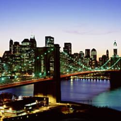 High Angle View Of Brooklyn Bridge, NYC, New York City, New York State, USA