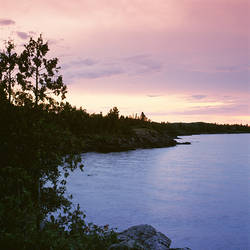USA, Michigan, Upper Peninsula, Copper Harbor, Lake Superior, High angle view of a harbor in dusk