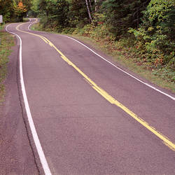 USA, Michigan, Keweenaw Peninsula, Upper Peninsula, Lake Shore Drive, Route 26, Highway through the forest