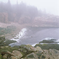 USA, Maine, Acadia National Park, Atlantic Coast, Beach covered with fog