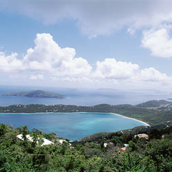 US Virgin Islands, St. Thomas, Magens Bay, High angle view of bay
