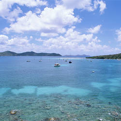 US Virgin Islands, St. John, East End, Coral Bay, Boats in the sea