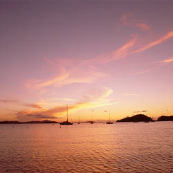 US Virgin Islands, St. John, Virgin Islands National Park, Francis Bay, Sunset over the sea