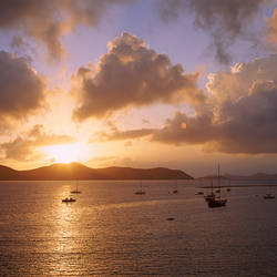 US Virgin Islands, St. John, East End, Coral Bay, Boats in the sea during sunrise