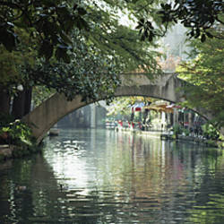 Footbridge Over A Canal, San Antonio, Texas, USA