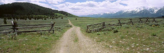 Dirt Road In A Landscape, Grand Teton National Park, Wyoming, USA