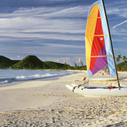 Sail boats on the beach, Antigua, Caribbean Islands