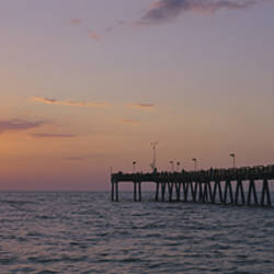 Pier at sunset, Gulf of Mexico, Venice, Florida, USA