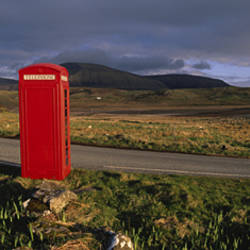 Telephone Booth In A Landscape, Isle Of Skye, Highlands, Scotland, United Kingdom