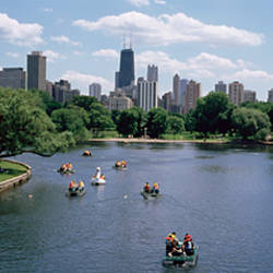 High angle view of a group of people on a paddle boat in a lake, Lincoln Park, Chicago, Illinois, USA